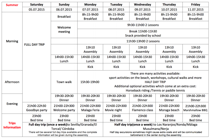 Weekly Programme of the Summer Camp