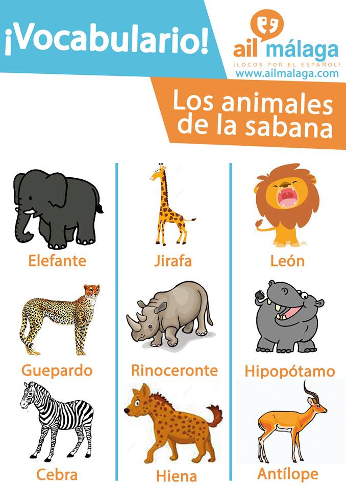 vocabulario animales de la sabana