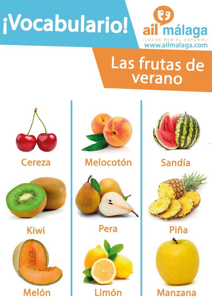 vocabulario frutos de verano