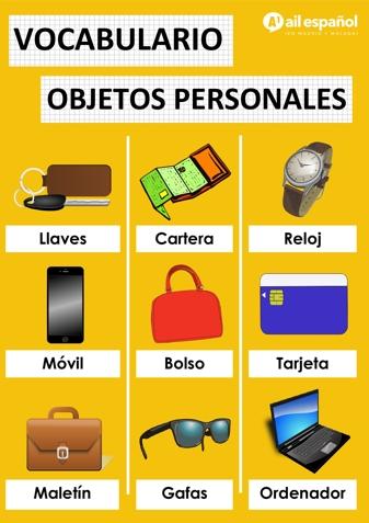 OBJETOS PERSONALES - AIL Malaga Spanish Language School study materials